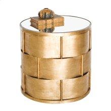 Basketweave Side Table In Gold Leaf W. Beveled Mirror Top.