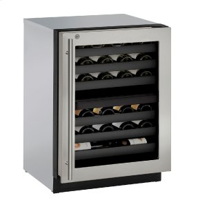 "U-LineModular 3000 Series 24"" Wine Captain(r) Model With Stainless Frame (lock) Finish and Right-hand Hinged Door Swing (115 Volts / 60 Hz)"
