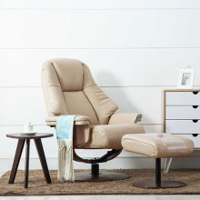 Lund Recliner and Ottoman in Cobble Breathable Air Leather