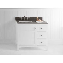 "Hampton 36"" Bathroom Vanity Cabinet Base in White - Door on Left"
