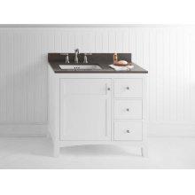 """Hampton 36"""" Bathroom Vanity Cabinet Base in White - Door on Left"""