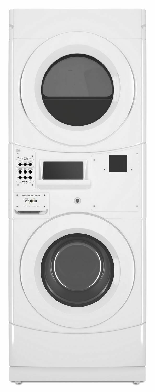 WhirlpoolCommercial Gas Stack Washer/dryer, Card Reader-Ready White