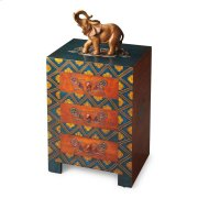 This invitingly vibrant, textured hand painted chest will be a bright spot in your room. Individually handcrafted from mango wood solids and wood products, it features three drawers with painted metal hardware. Product Image