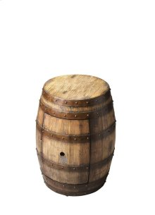 This distinctive replica barrel table brings home the passion, beauty and traditions of the wine country. Handcrafted from wood solids and wood products, it features vintage metal bands and a heavily distressed Praline finish. Finger hole opens door to re