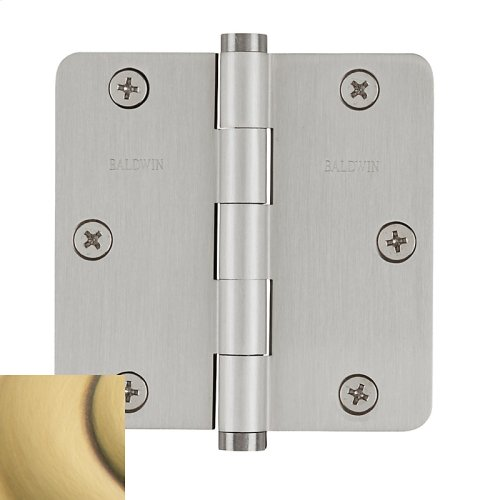 "Satin Brass and Brown 1/4"" Radius Corner Hinge"