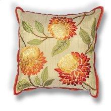 "L173 Red Chrysanthemum Pillow 18"" X 18"""