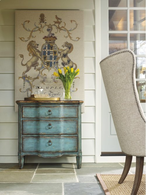 Living Room Three Drawer Turquoise Chest