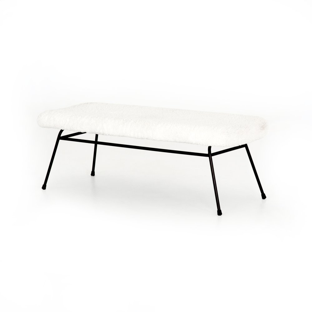 Caleb Small Bench-ivory Angora
