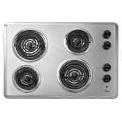"30"" Electric Cooktop with Dishwasher-Safe Knobs Chrome"