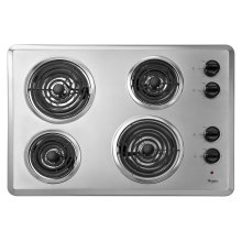 """30"""" Electric Cooktop with Dishwasher-Safe Knobs Chrome"""