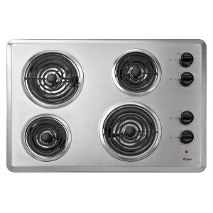 "Whirlpool30"" Electric Cooktop with Dishwasher-Safe Knobs Chrome"