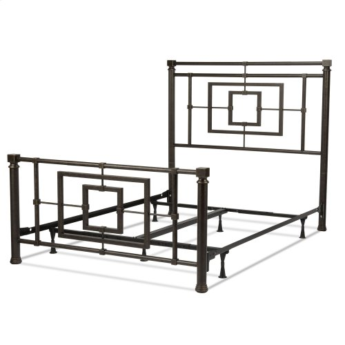 Sheridan Complete Bed with Squared Metal Tubing and Geometric Design, Blackened Bronze Finish, Full