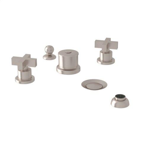 Satin Nickel Pirellone 5-Hole Bidet Faucet with Cross Handle