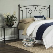 Hinsdale Metal Headboard with Sloping Top Rail and Vertical Spindles, Antiqued Pewter Finish, Queen