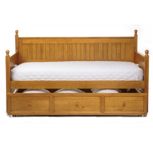 Casey Complete Wood Daybed with Ball Finials and Roll Out Trundle Drawer, Honey Maple Finish, Twin