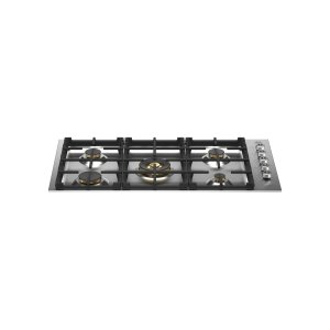 Bertazzoni36 Drop-in Gas Cooktop 5 brass burners Stainless Steel