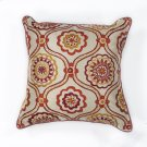 "L122 Ivory/red Mosaic Pillow 18"" X 18"" Product Image"