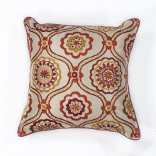 "L122 Ivory/red Mosaic Pillow 18"" X 18"""