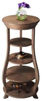 Three adjustable shelves plus top and base provide abundant display possibilities on this elegant etagere. Handcrafted from acacia solid wood in a Toasted Barley finish. Product Image