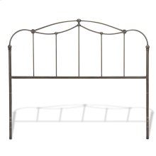 Affinity Metal Headboard Panel with Straight Spindles and Detailed Castings, Blackened Taupe Finish, Queen