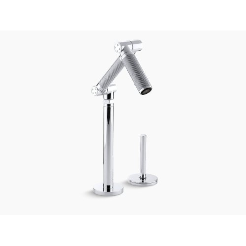 """Vibrant Stainless Articulating Deck-mount Bar Sink Faucet With 6"""" Spout, Silver Tube and Lever Handle"""