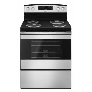 Amana30-inch Electric Range with Bake Assist Temps - Black-on-Stainless