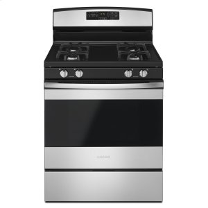 30-inch Gas Range with Self-Clean Option Black-on-Stainless -