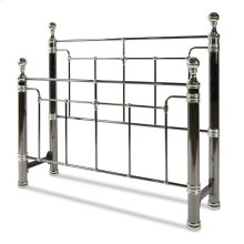 Northbrook Metal Headboard and Footboard Bed Panels with Antique Styling and Bold Finial Posts, Black Nickel and Chrome Finish, Queen
