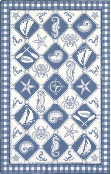 Colonial 1807 Blue/ivory Nautical Panel 2' X 8' Runner