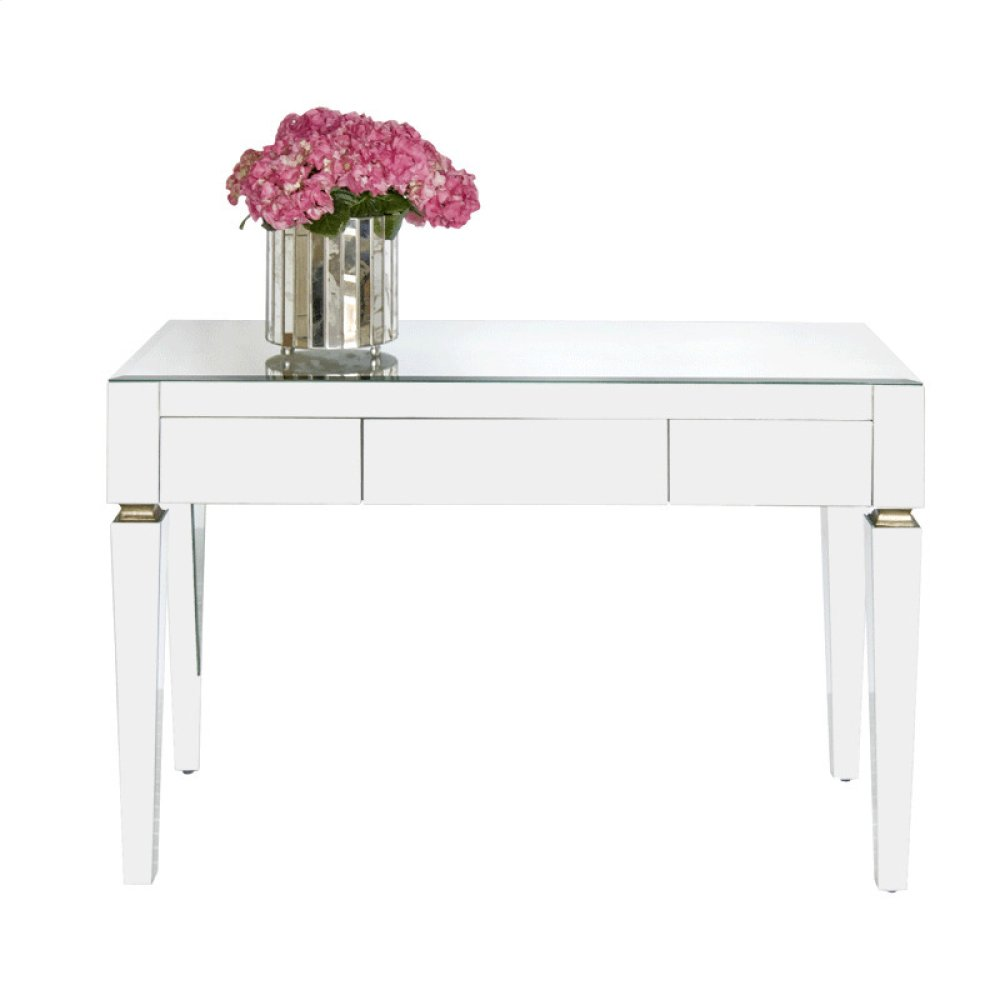 "Beveled Mirror 3 Drawer Desk. All Drawers On Glides. Height To Bottom of Drawer From Floor: 23.5""."
