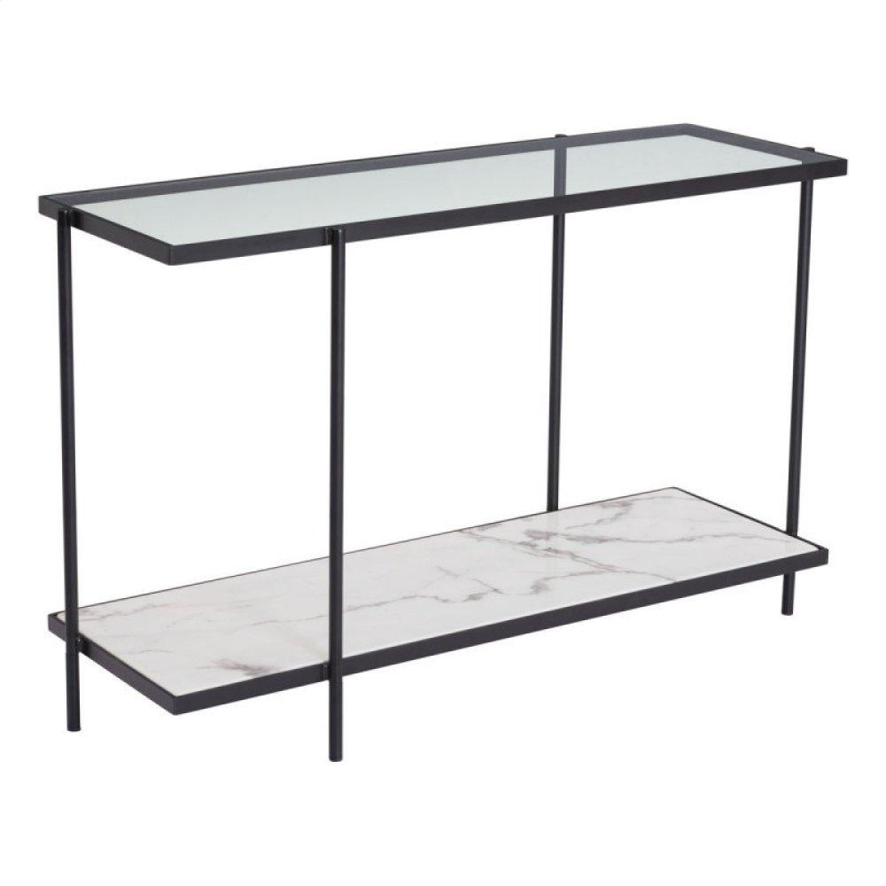 Winslett Console Table Clear, White & Matte Black