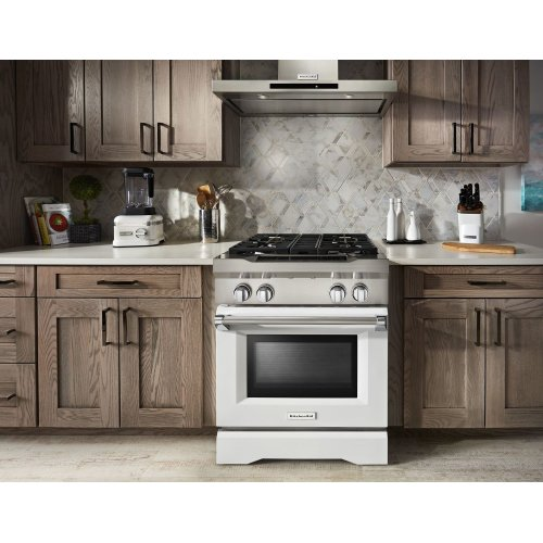 30'' 4-Burner Dual Fuel Freestanding Range, Commercial-Style Imperial White