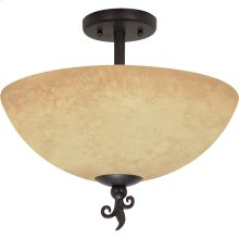 """3-Light 16"""" Old Bronze Semi Flush Ceiling Light Fixture with Tuscan Suede Glass"""