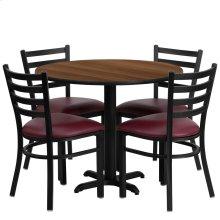 36'' Round Walnut Laminate Table Set with 4 Ladder Back Metal Chairs - Burgundy Vinyl Seat