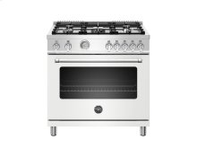 36 inch All Gas Range, 5 Burners Matt White