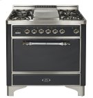 "Stainless with Chrome trim 36"" Majestic Solid Door 6 Burner Dual Fuel Range Product Image"