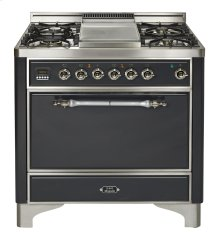 "Stainless with Chrome trim 36"" Majestic Solid Door 5 Burner Gas Range + Griddle"