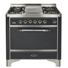 "Stainless with Chrome trim 36"" Majestic Solid Door 6 Burner Dual Fuel Range"