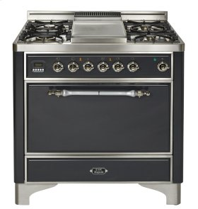 "True White with Brass trim 36"" Majestic Solid Door 5 Burner Dual Fuel Range + Griddle"