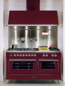 """Burgundy 60"""" Griddle + French Top Majestic Techno Dual Fuel Range"""