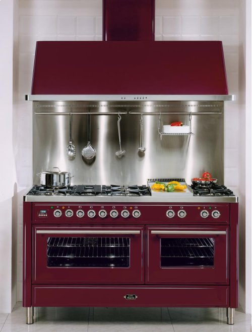 "Burgundy 60"" French Top Majestic Techno Dual Fuel Range"