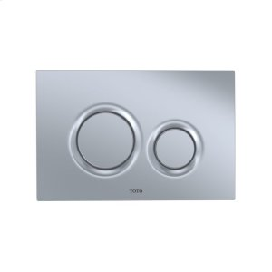 Basic Round Push Plate - Dual Button - Matte Silver