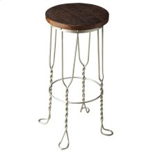 Designed with immodest distinction, this bar stool proves good design is all in the details. Twisted iron legs ending in small footprints conjoined by an iron circle base - for strength and a convenient footrest - make for a compelling aesthetic. Atop the