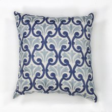 "L108 Ivory/blue Chateaux Pillow 18"" X 18"""