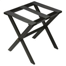 Perfect for any bedroom or walk-in closet, this luggage rack is ready when needed. The black licorice finished solid wood frame features elegant carving on the stretcher base and legs with three heavy duty cloth straps. Folds away for convenient storage.