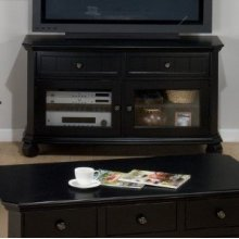 Media Unit W/ 2 Drawers, 2 Doors, 2 Shelves - Tempered Glass