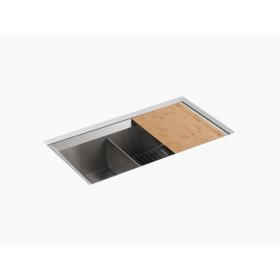 "33"" X 18"" X 9-1/2"" Under-mount Large/medium Double-bowl Kitchen Sink, Includes Cutting Board and Bottom Bowl Sink Rack"