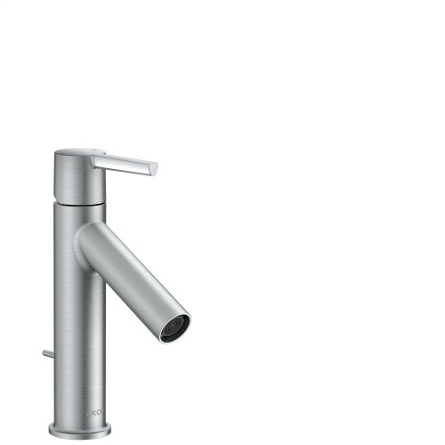Brushed Chrome Single lever basin mixer 100 with lever handle and pop-up waste set