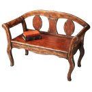 This attractive bench features a rich brown paint finish that is hand layered by a skilled artisan to yield an aged, crackled appearance. Physical distressing and gold highlights give the piece an Old World feel. The bench is crafted from poplar hardwood Product Image