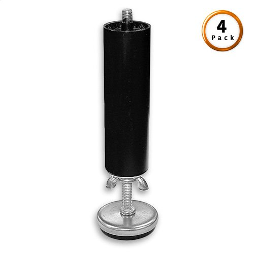 "5"" Black Metric Thread Cylinder Leg w/ 3"" Adjustable Glide, 4-Pack"